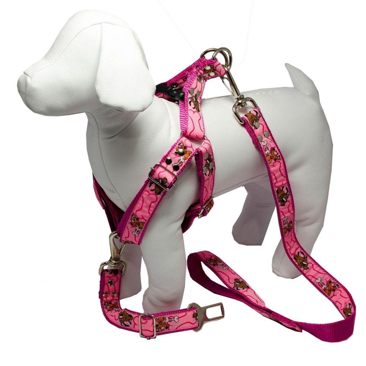 Kit 2x Coleira Peitoral Cachorro Guia Adaptador Cinto Segurança Tamanho P - Cores Rosa e Preta