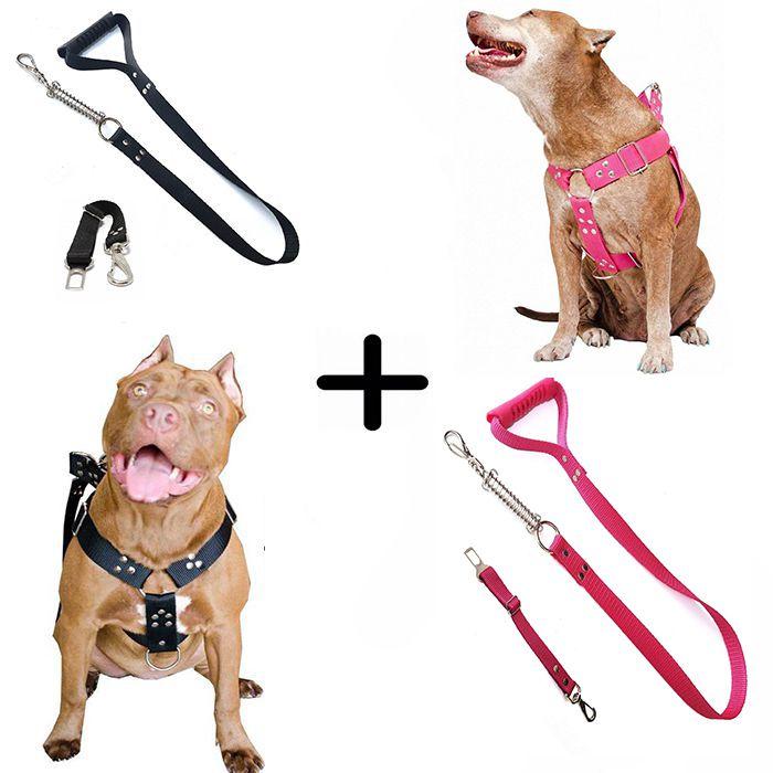 Kit 2x Coleira Peitoral Guia Cinto Segurança Cachorro Doberman Pitbull Anti Puxao - G Preto + Rosa