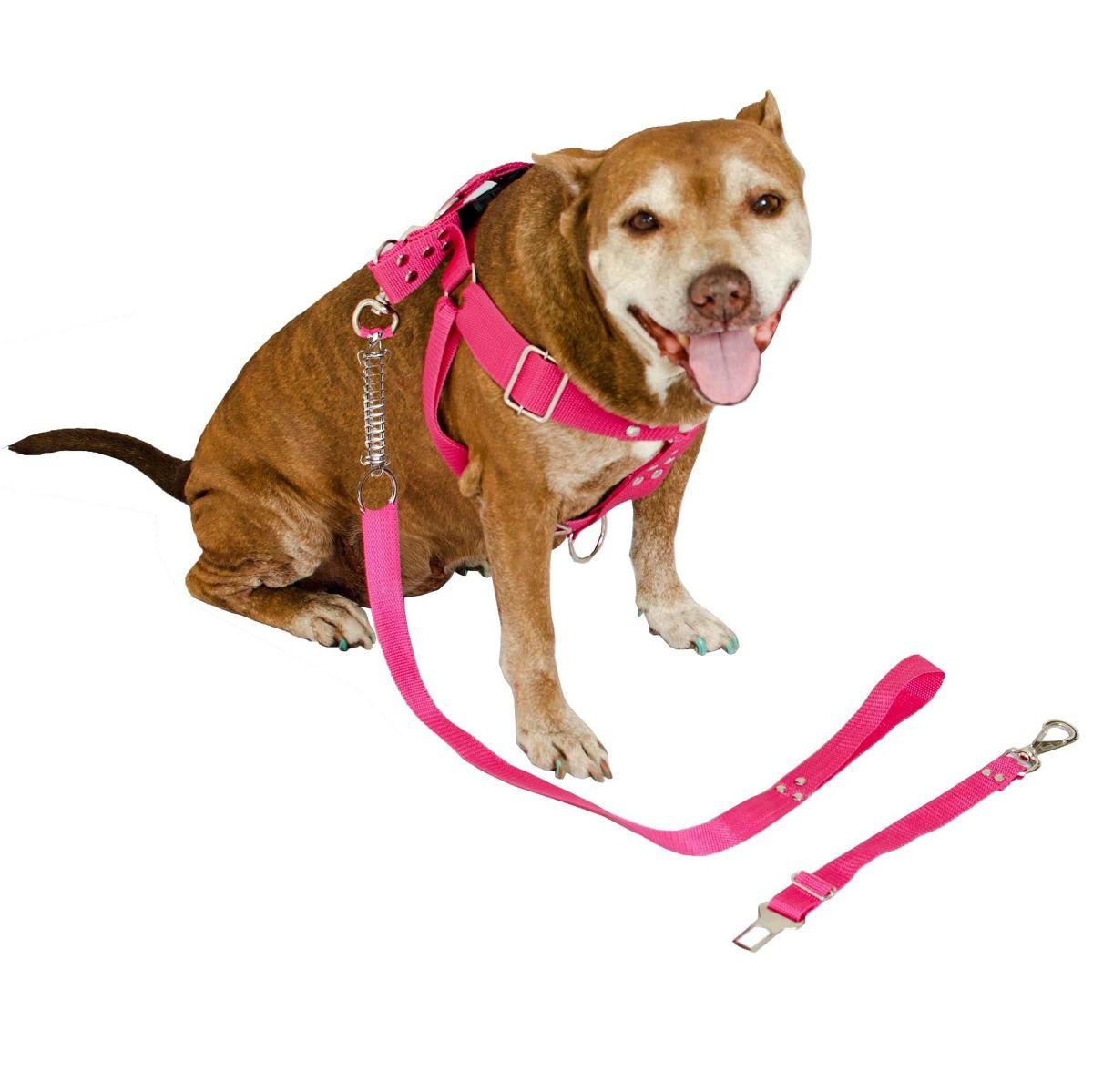 Kit 2x Coleira Peitoral Guia Cinto Segurança Cachorro Doberman Pitbull Anti Puxao - M Rosa + Vermelho