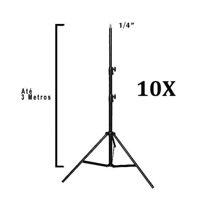 Kit Com 10x Tripé Estúdio Iluminação Reforçado Até 3 Metros Profissional Para Flash e Iluminadores de Led