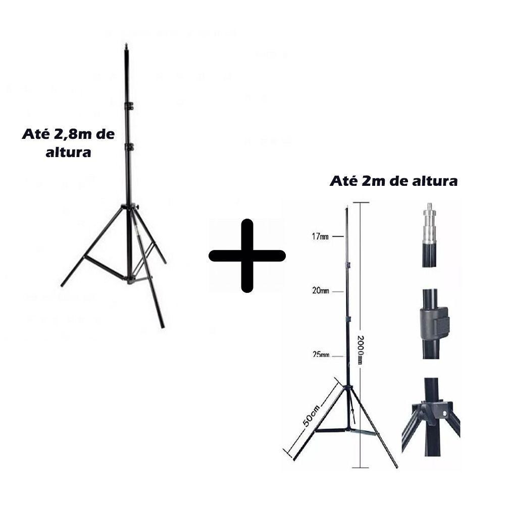 Kit Com 2 Peças De Tripé De Iluminação Flash Profissional De Estúdio - 1 unidade de 2,8 metros + 1 unidade de 2,0 metros altura