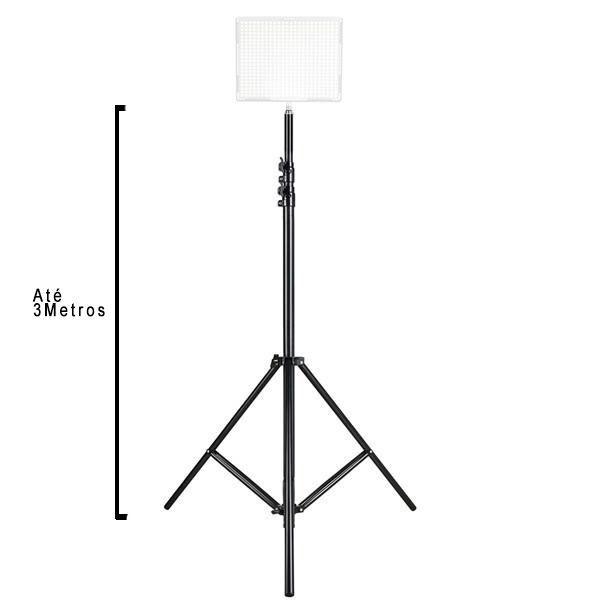 Kit Com 2x Tripé Estúdio Iluminação Reforçado Até 3 Metros Profissional Para Flash e Iluminadores de Led