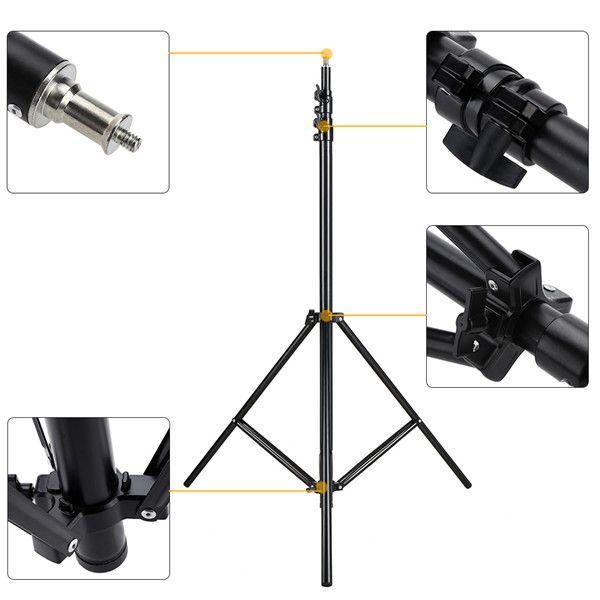 Kit Com 5x Tripé Estúdio Iluminação Reforçado Até 3 Metros Profissional Para Flash e Iluminadores de Led