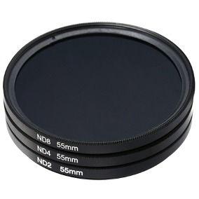 Kit De Filtro Nd2 + Nd4 + Nd8 Rosca 55mm P/ Lente Nikon Nikkor Af-p 18-55mm + Case