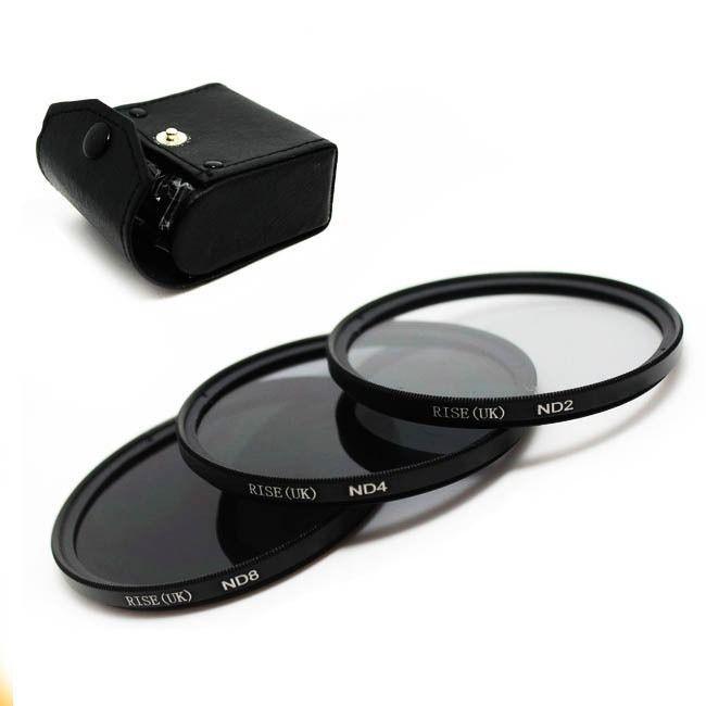 Kit De Filtro Nd2 + Nd4 + Nd8 Rosca 49mm P/ Lentes Canon 50mm 1.8 STM ou Sony E 18-55mm F/3.5-5.6 Oss + Case