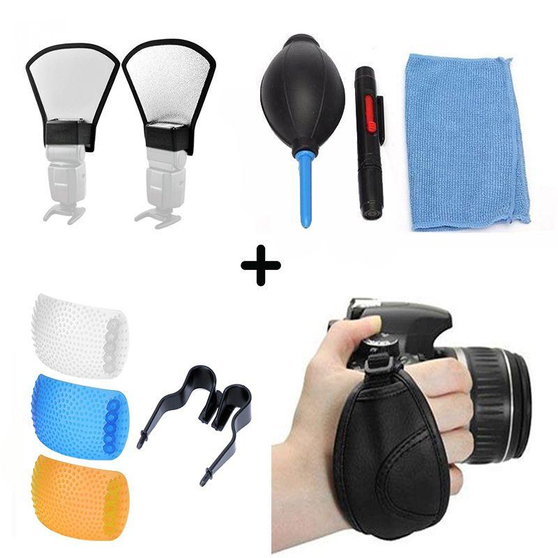 Kit Difusor Flash Speedlight 2 Lados + Limpador Lente Lcd Fotográfica E Limpeza Ótica Kit 5x1 + Alça de mão Hand Grip Câmera Dslr + Difusor Universal Câmera com Flash PopUp 3 Cores