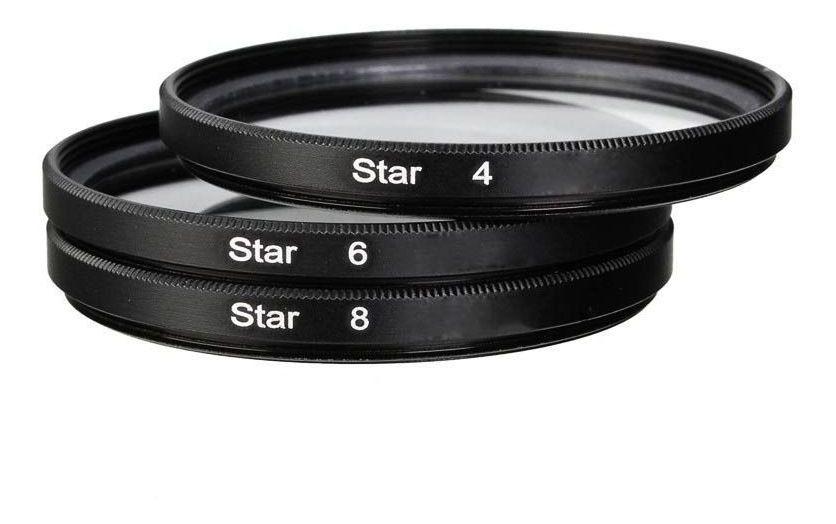 Kit Filtro Estrela 55mm Star Filter 4 6 8 Pontas Lente 55mm