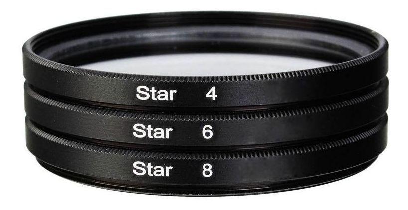 Kit Filtro Estrela 55mm Star Filter 4 6 8 Pontas Lente 62mm