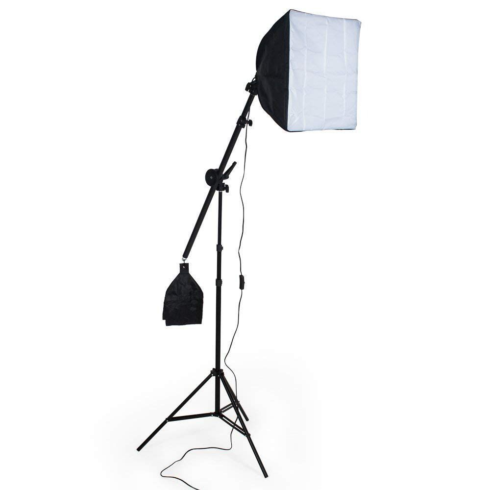 Kit Iluminação Girafa Ajustavel Tripé Softbox Lampada Bolsa Fotografia p/ Estúdio