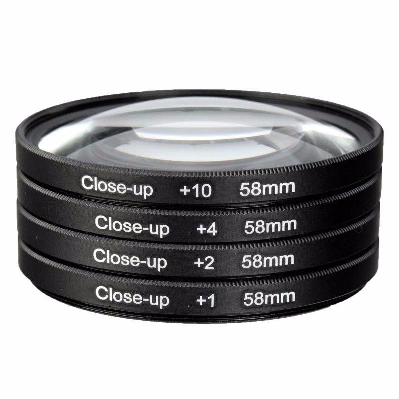 Kit Lentes Filtro Close Up Macro +1 +2 +4 +10 58mm