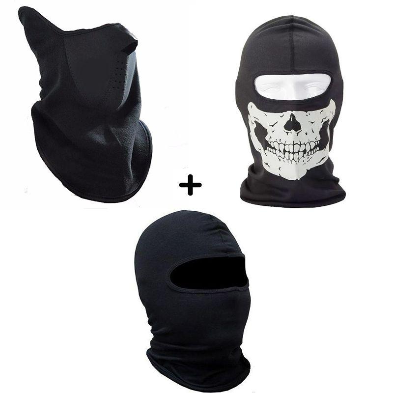 Kit Balaclava Neoprene Pescoceira Facial + Touca Ninja Segunda Pele + Balaclava Caveira Paintball Moto