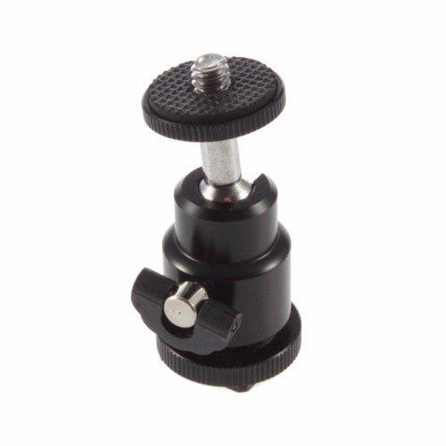 kit Suporte P/ Tripé Dslr Flash Hot Shoe 1/4 Sapata Tripod 360° +Mini Ball Head Cabeça para Tripe, Monope, Skate Dolly, Suporta até 2KG