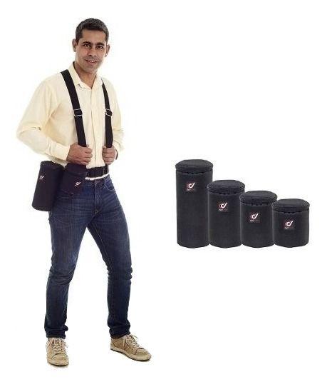 Kit Suspensorio Com 4 Cases Rígidas Para Lentes Fotograficas Bolsa Tamanhos P, M, G e XG