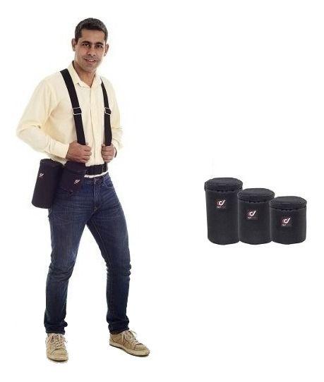 Kit Suspensorio Com 3 Cases Rígidas Para Lentes Fotograficas Bolsa Tamanhos P, M e G
