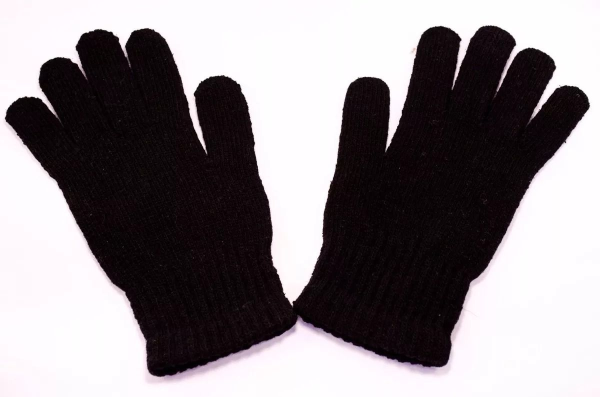 Par De Luvas Lã Lisas Tricotadas Para Frio Intenso