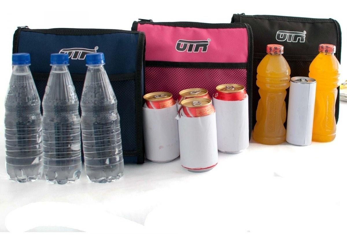 Termo Car Bolsa Termica Alimentos Porta Agua Refri Carro 3 Garrafas Ou 5 Latas - Preta