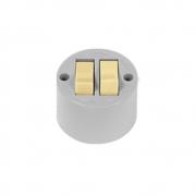 Interruptor 2 Teclas de Sobrepor Redondo 6A Cinza - Ilumi