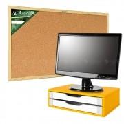 Suporte P/ Monitor 2 Gav. Color Quadro Cortiça Madeira 90x60