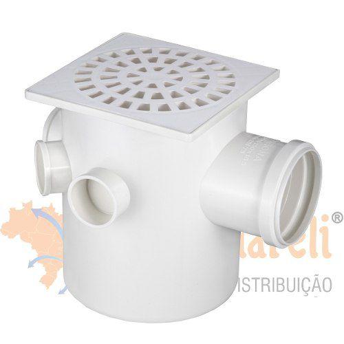 Caixa Sifonada com Grelha Quadrada Branca Dn150x185x75 - Krona