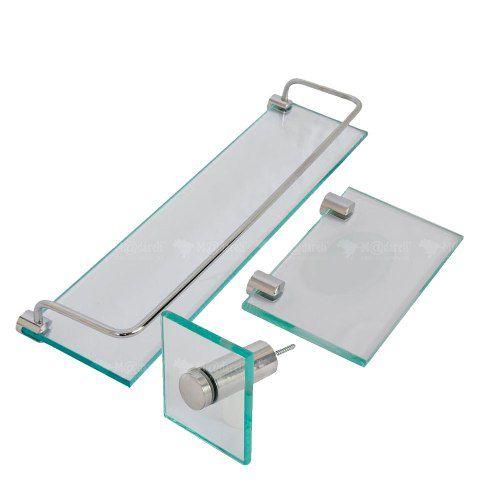 Kit Porta Shampoo Saboneteira Retangular Porta Toalha Rosto