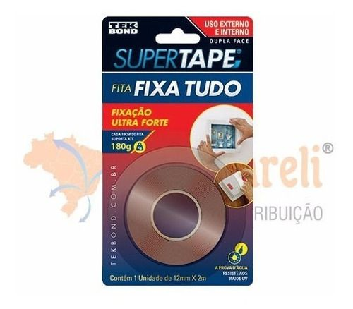 Fita Dupla Face Super Tape 12mm x 2m uso Int. / ext. - Tekbond