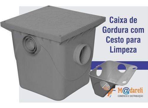 Caixa de Gordura 41x40x41 Cinza com Cesto para Limpeza - Metasul