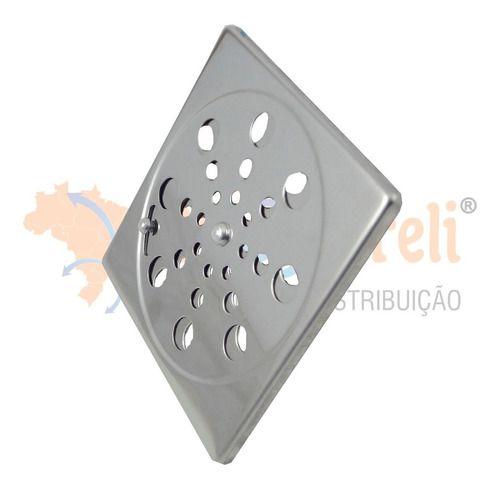 Grelha Ralo Inox Quadrada Abre Fecha Sem Caixilho 10x10 cm
