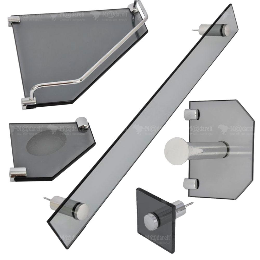 Acessórios para Banheiro em Vidro 10mm 5 Peças de Canto - Vildrex