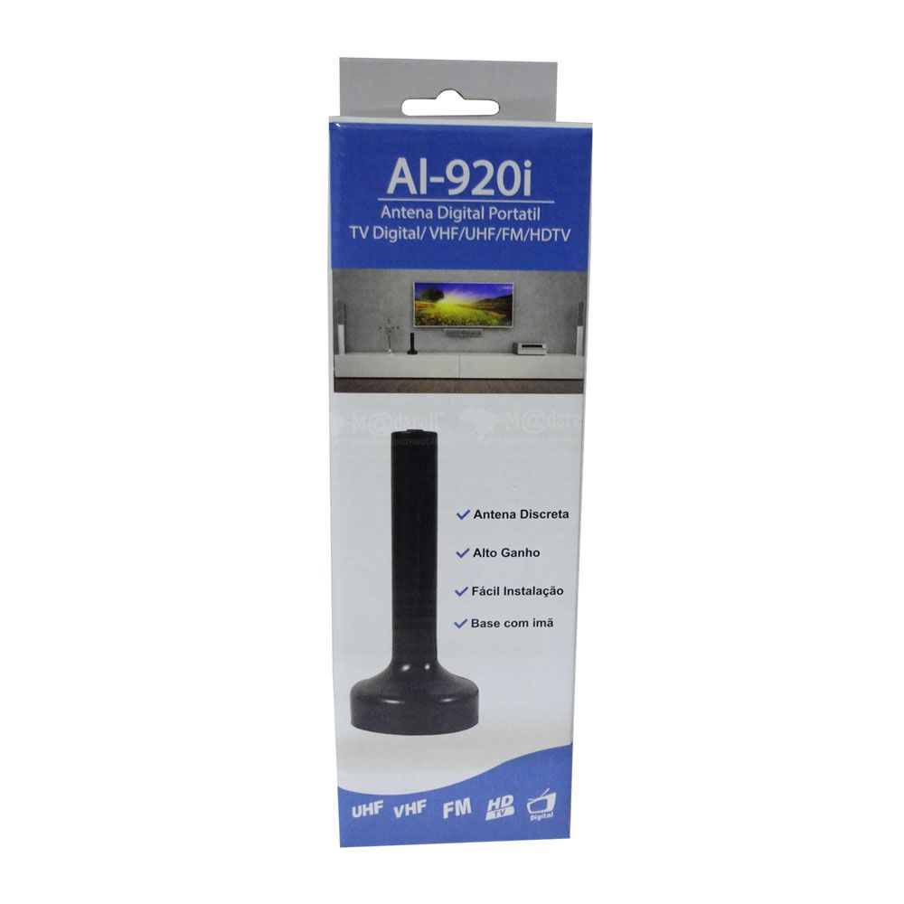 Antena Digital AI-920i 61790 - TV Digital/VHF/UHF/FM/HDTV 1,5m Cabo - Indusat