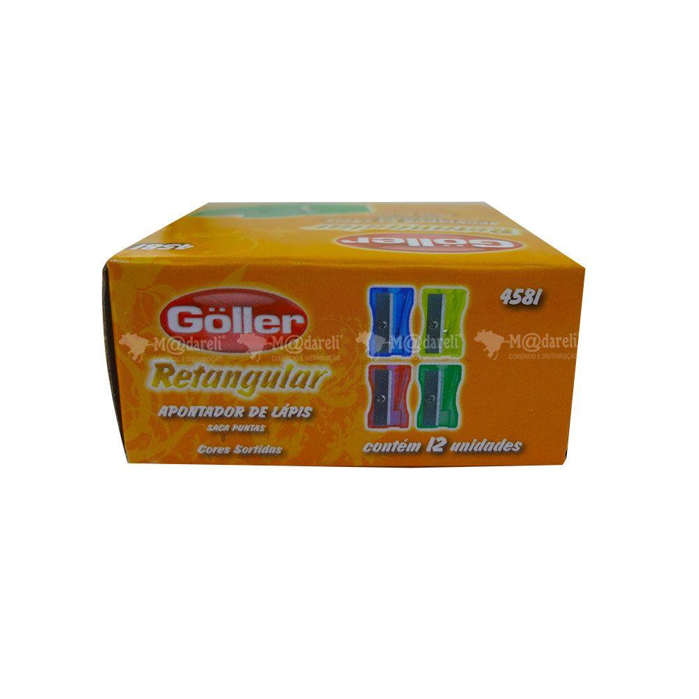 Apontador Plástico Retangular Goller com 12 unidades