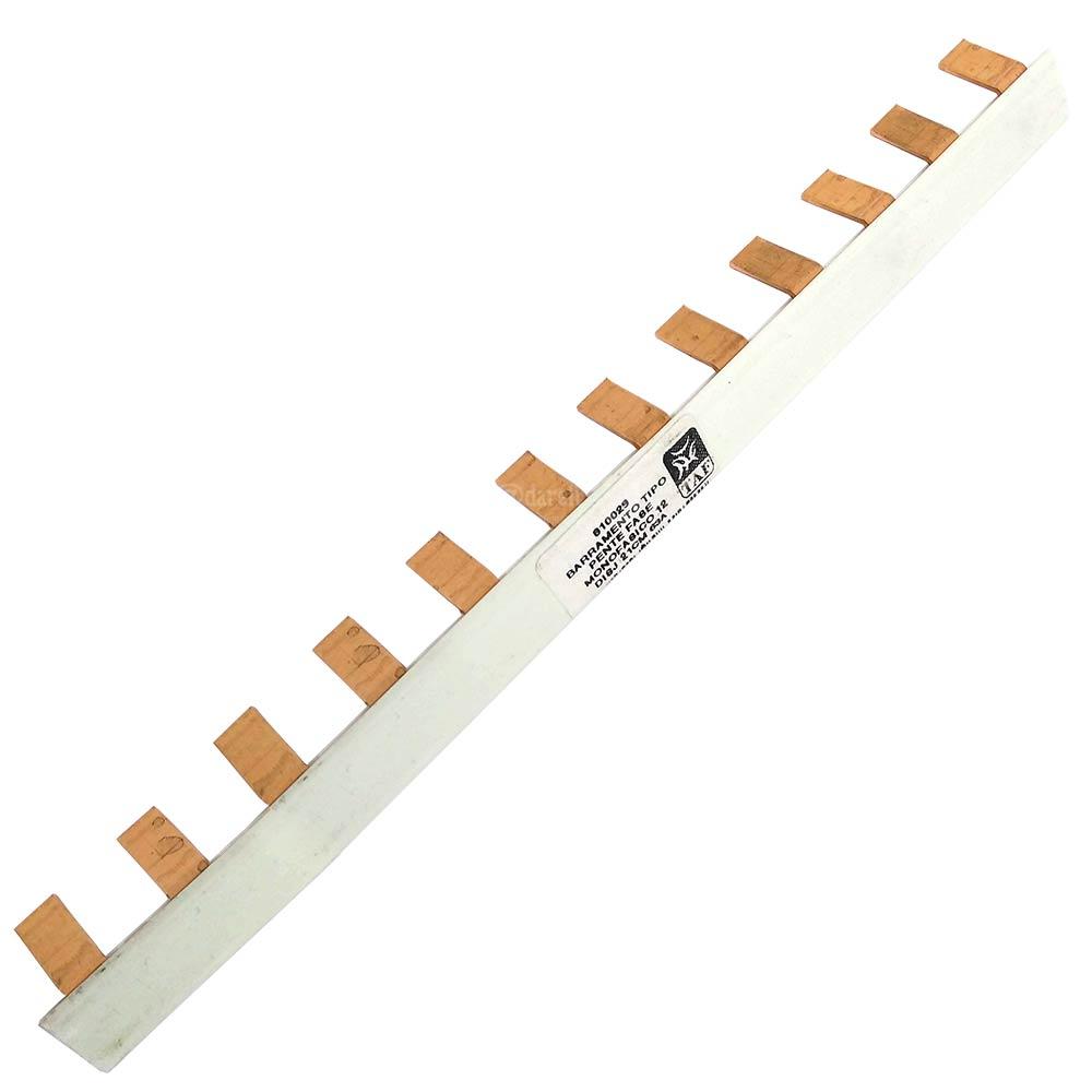 Barramento Tipo Pente Fase para 12 Disjuntores Monofásicos 63A 21cm - TAF