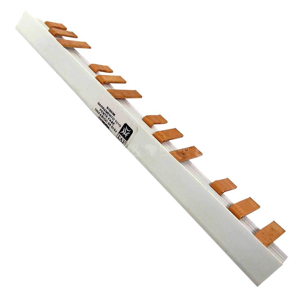 Barramento Tipo Pente Fase para 4 Disjuntores Trifásicos 63A 21cm - TAF