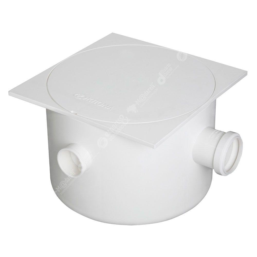 Caixa de Gordura Sifonada com tampa Quadrada Branca Krona N21 - DN 250 x 172 x 50