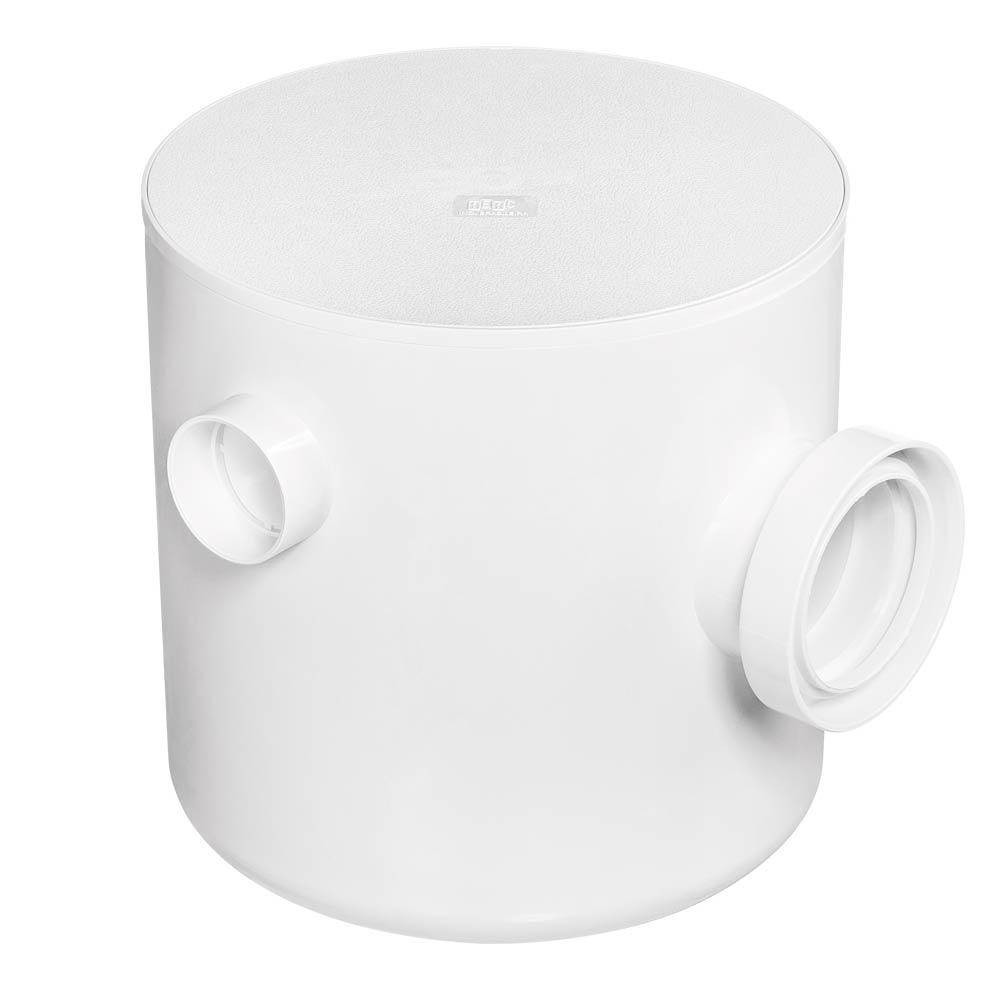 Caixa de Gordura Sifonada Redonda 250x250x75/100mm com Cesto Branca 2305 - Herc