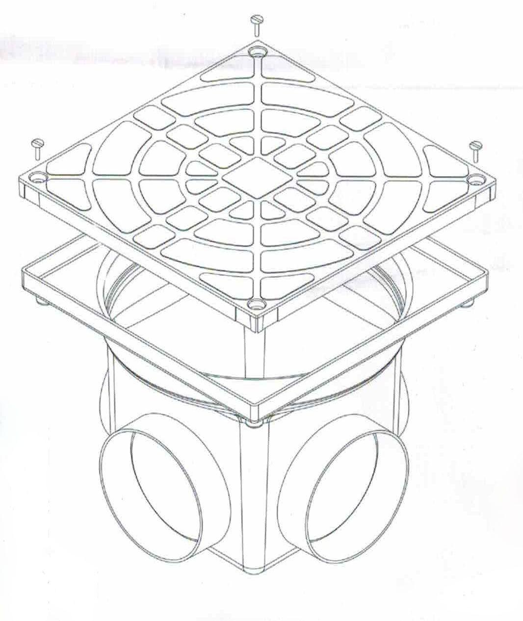 Caixa de Passagem e Inspeção de Esgoto Preta 4,5L DN100 24x20x24cm