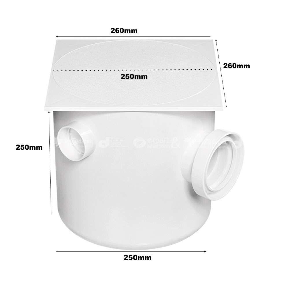 Caixa de gordura Sifonada 250X250X75/100 Tampa Quadrada Herc
