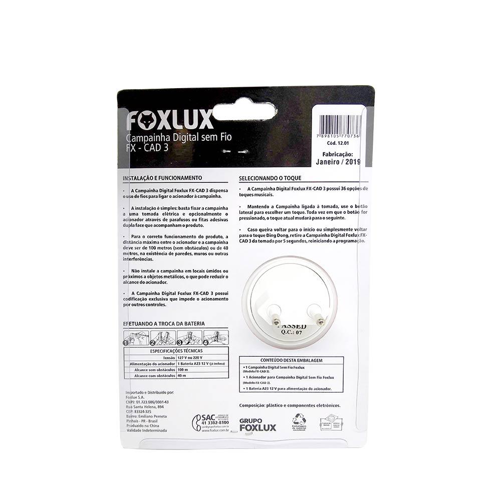 Campainha sem Fio Bivolt CAD 3 - Foxlux