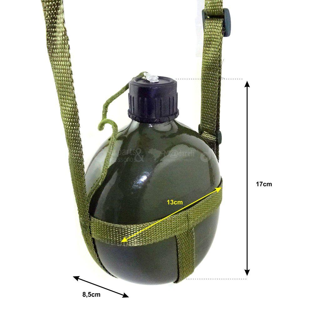 Cantil de Alumínio Verde Tipo Militar 875ml