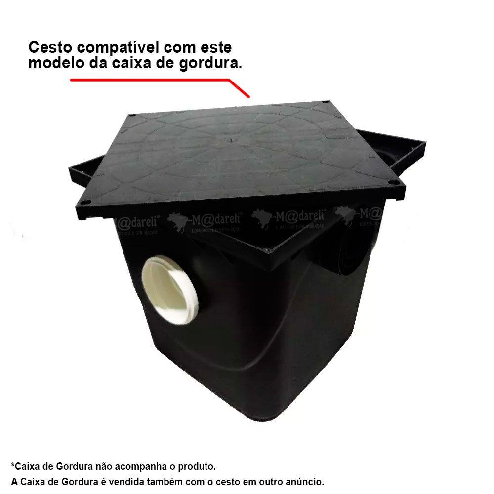 Cesto Caixa de Gordura 42 Litros Preto 355x360x245MM - TAF