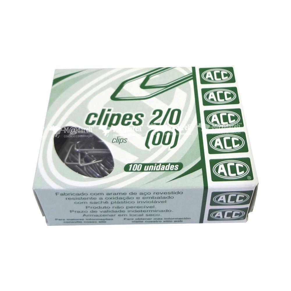 Clipes para Papel Nº 2/0 Caixa Com 100 Unidades - ACC