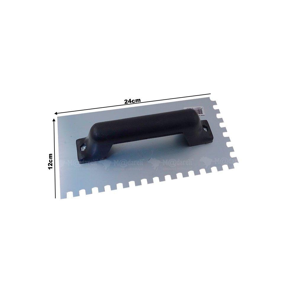 Desempenadeira Dentada em Aço 12 x 24 cm com Cabo em Plástico