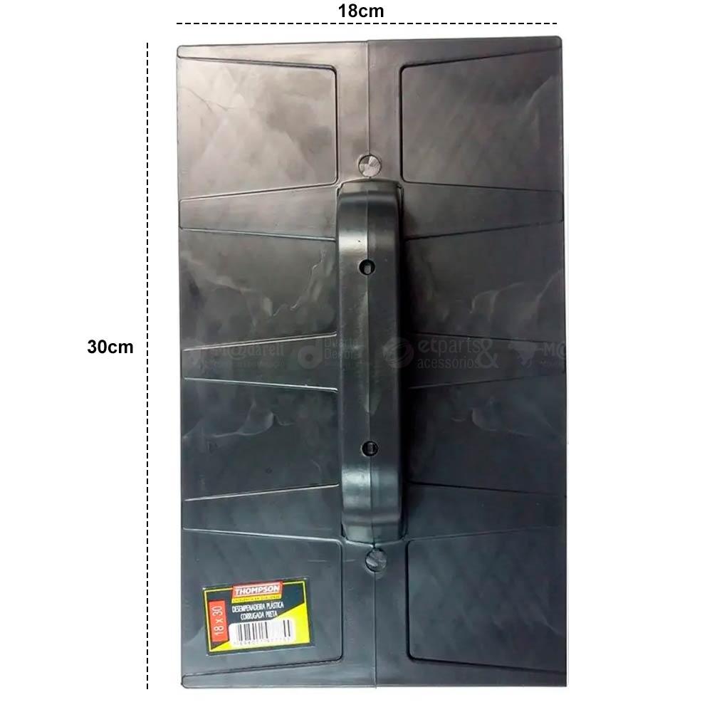 Desempenadeira Plastica Corrugada Preta 18 x 30cm - Thompson