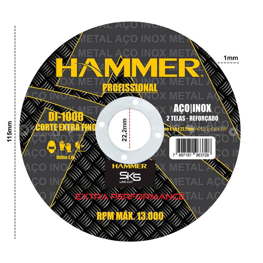 "Disco de Corte Extra Fino 4.1/2"" Aço e Inox 10 un. - Hammer"
