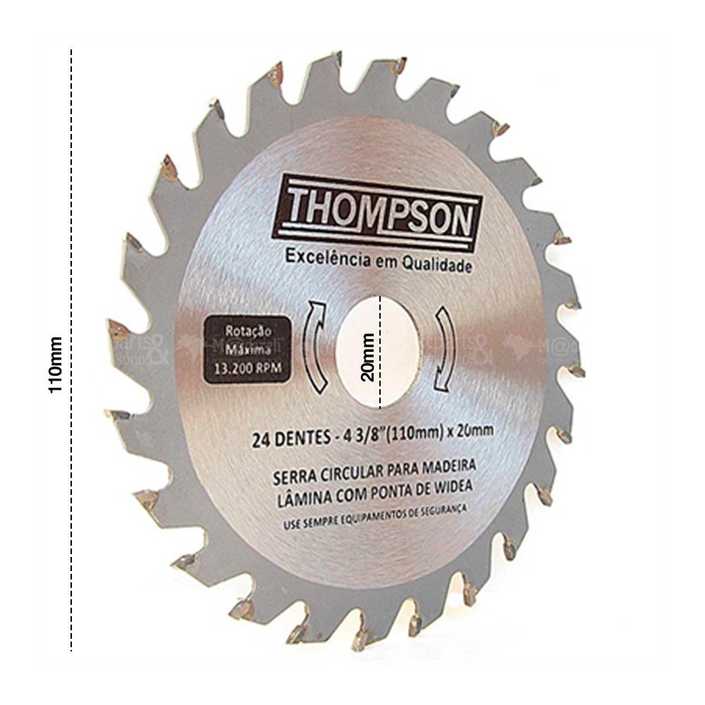 Disco de Serra Circular Vídea para Madeira 110mm x20mm - Thompson