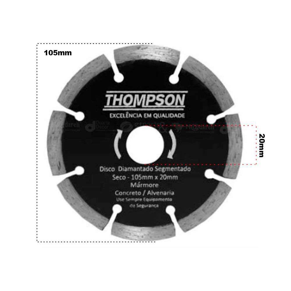 Disco Diamantado Segmentado Seco Mármore Concreto 105x20mm Thompson