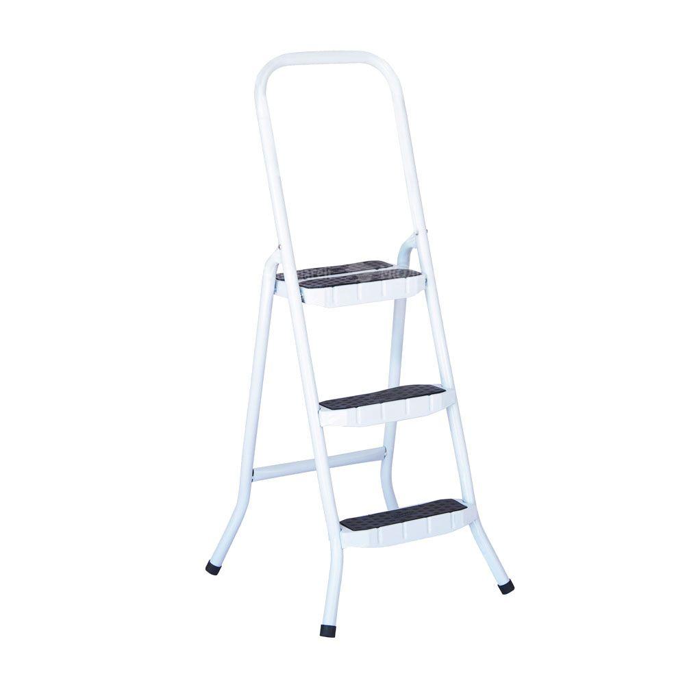 Escada Doméstica 3 Degraus em Aço Branca Maestro