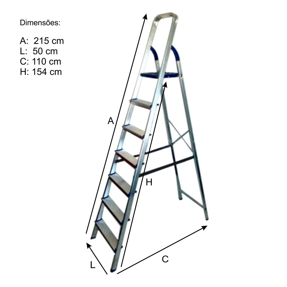 Escada Doméstica de Alumínio 7 Degraus - Alume