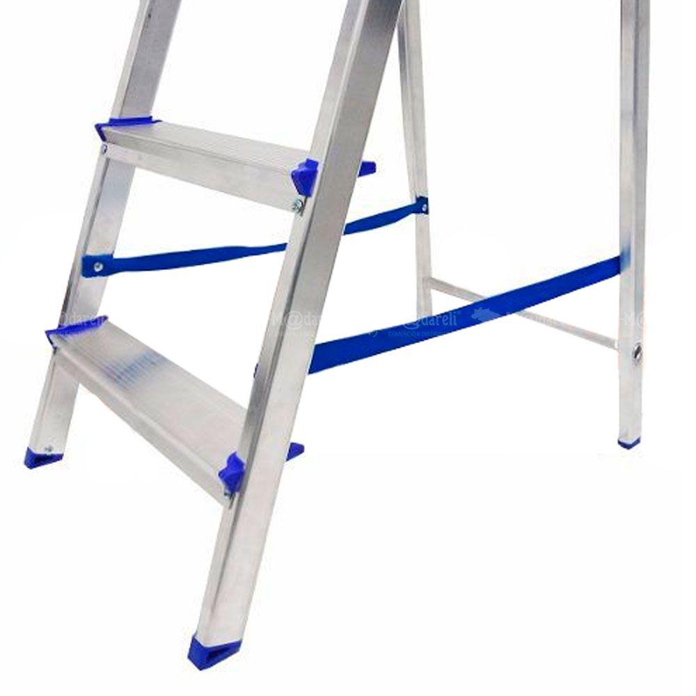 Escada Doméstica Dobrável em Alumínio 4 Degraus - Alume