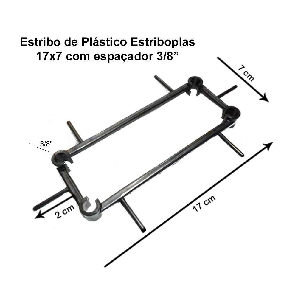 """Estribo Plastico armação ferragem Estriboplas 17x7x 3/8"""" - com Espaçador"""