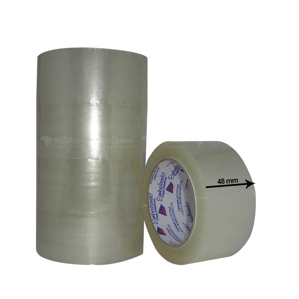 Kit Fita Adesiva Transparente 48mm x 100m com 5 Unidades